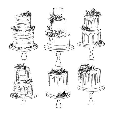 Vector sketch of trending wedding cakes with floral and fruit decoration.