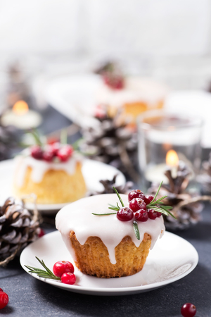Christmas mini cake with sugar icing, cranberries and rosemary Archivio Fotografico