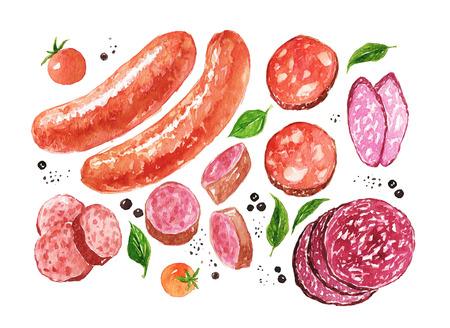 水彩ソーセージとサラミ、スパイス、トマトを白で隔離