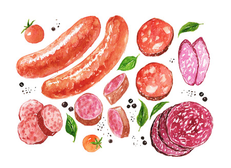 Watercolor sausages and salami, spice, tomatoes isolated on a white Foto de archivo