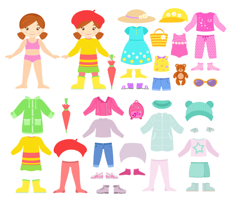 Paper smiling doll with seasonal clothes and accessories. Ilustracja