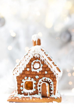 Homemade gingerbread house Stock Photo