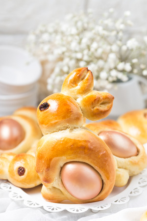 Sweet Easter bunny bread with egg.