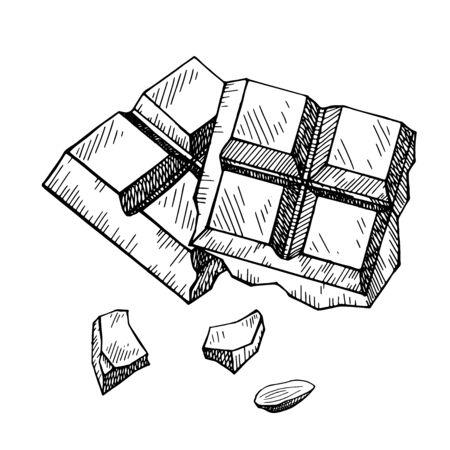 Schizzo disegnato a mano di cioccolato isolato su un bianco