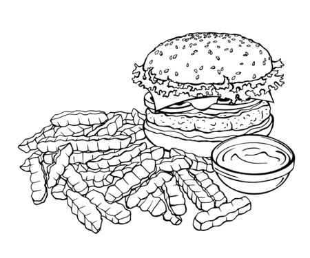 Vector sketch of burger and french fries. Fast food