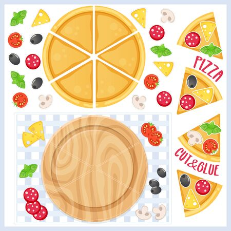 Pizza maker. Educational game for preschool kids. Cut and glue. Paper craft