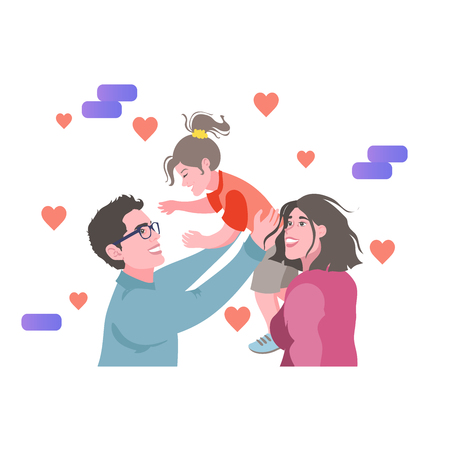 Father, mother, and daughter. Father holds daughter.Loving family. Vector illustration in cartoon style Illustration