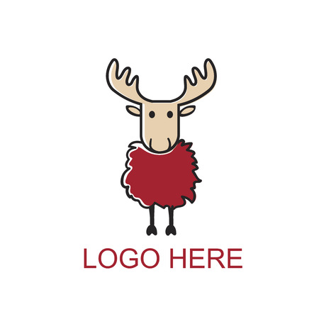Cartoon red moose. Authentic quality apparel graphics