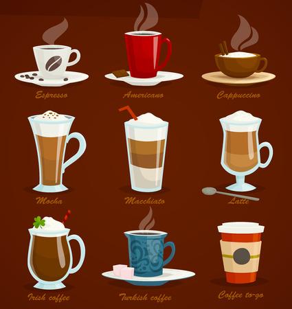 Different types of coffee. Espresso americano cappuccino latte mocha macchiato irish turkish, coffee to-go. Cartoon vector illustration