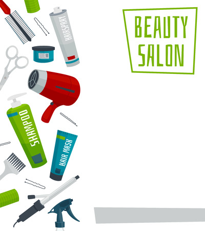 Beauty salon poster template with hair care tools, cartoon vector illustration Illustration