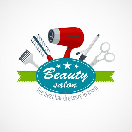 Beauty salon label with hair dryer scissors hairbrush, cartoon vector illustration isolated on white