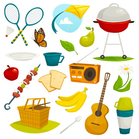mangal: Outdoor picnic objects set, summer holiday activity icon collection, cartoon vector illustration, bbq and food