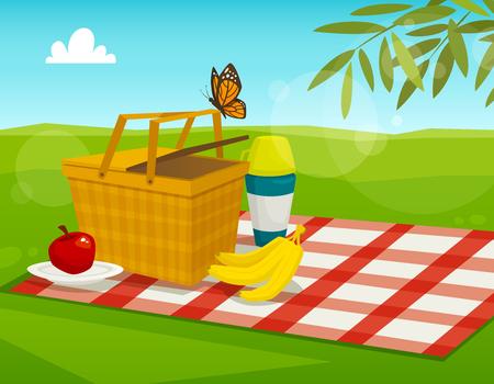 Zomer picknick met parklandschap, cartoon vector illustratie, mand met voedsel op de rode deken