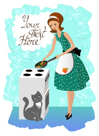retro housewife: Woman preparing food  vintage illustration