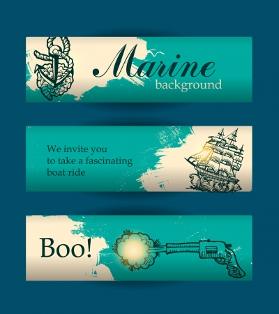 banners for sites on the marine theme Stock Vector - 19047931