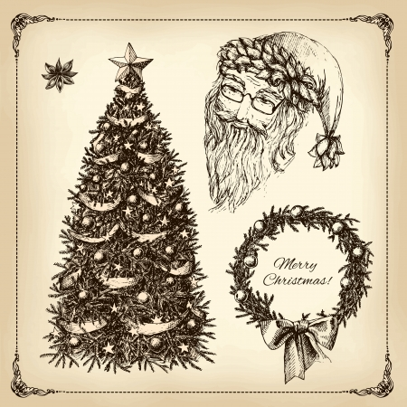 christmas hand drawn set Illustration