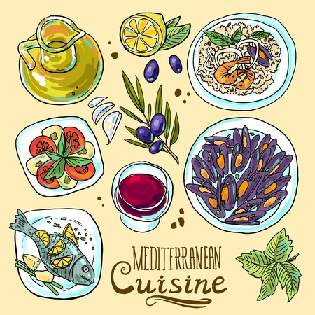 conjunto de comida mediterránea