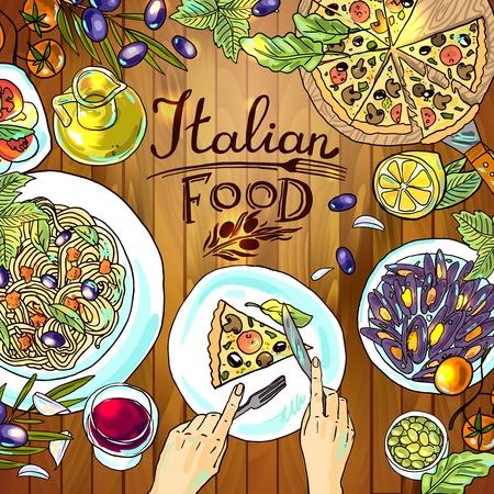 Italiaans eten op de houtstructuur