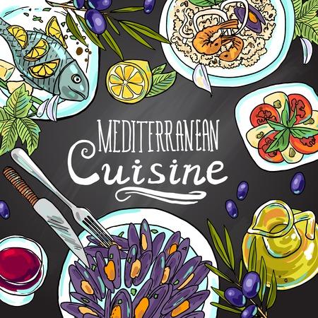地中海料理  イラスト・ベクター素材