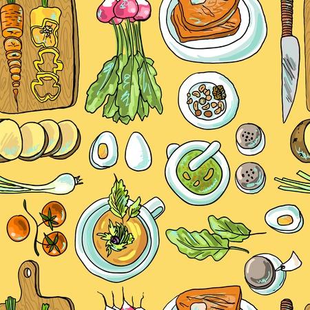 seamless pattern of vegetarian food illustration