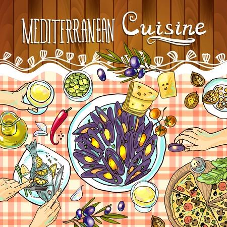 Mediterrane keuken illustratie Stock Illustratie
