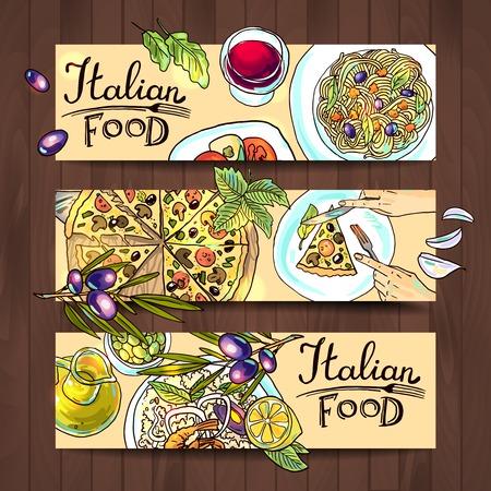 pizzeria label: horizontal banners italian food