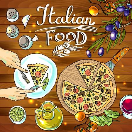 pizza y verduras, comida italiana