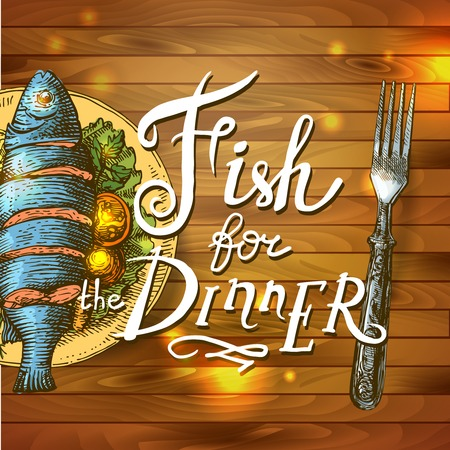 Realistic fish for dinner Vector