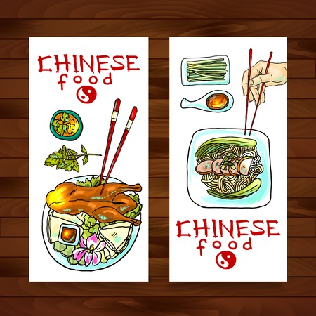 chinese food banners Illustration