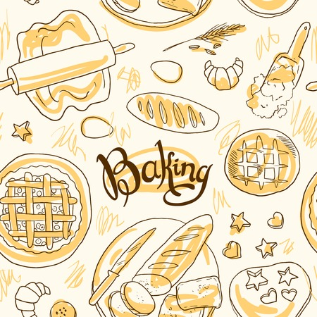 handdraw: beautiful hand-draw simpless pattern baking