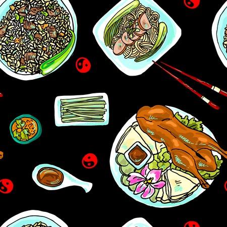 fried rice: seamless pattern chinese food