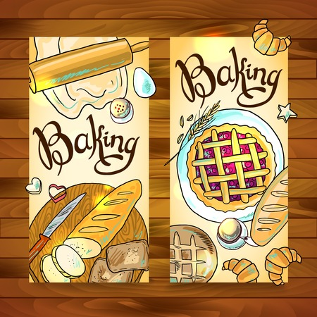 handdraw: beautiful hand-draw vertical baners with baking Illustration