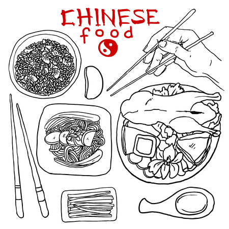 set of chinese food Vector