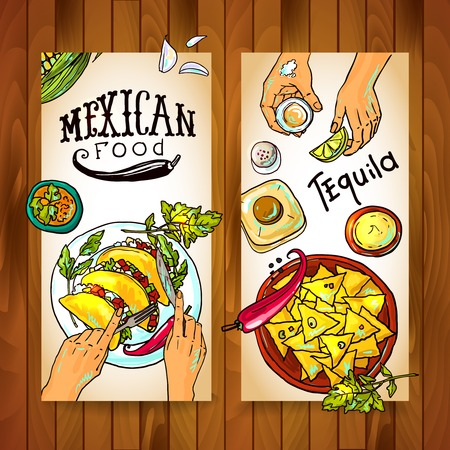 food illustrations: banners with mexican food