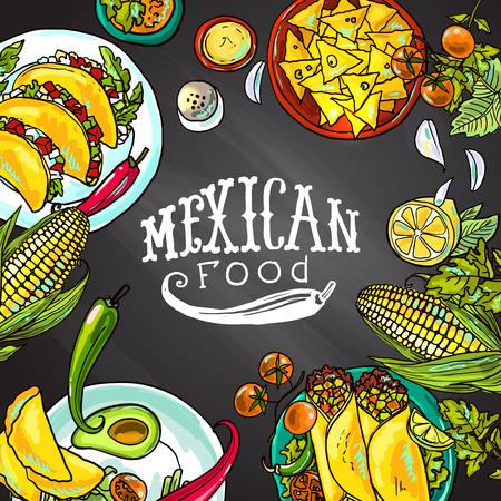 tortilla de maiz: comida mexicana Vectores