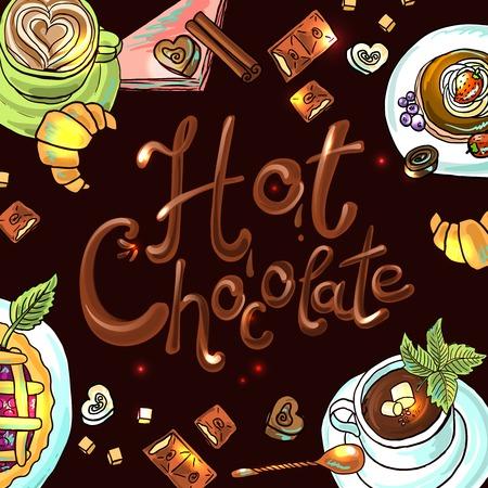 beautiful background hot chocolate Illustration