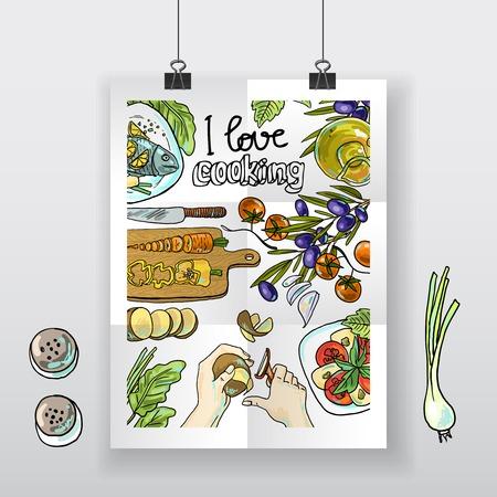 料理を愛する美しい手描きのポスター