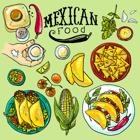 mexican food illustration Çizim