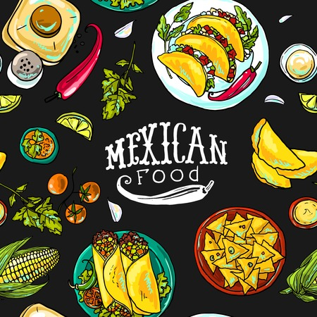 delicious food: simpless pattern mexican food Illustration
