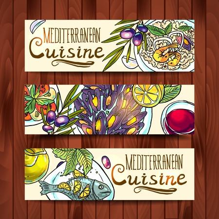 aceite oliva: pancartas con ilustraci�n comida mediterr�nea Vectores