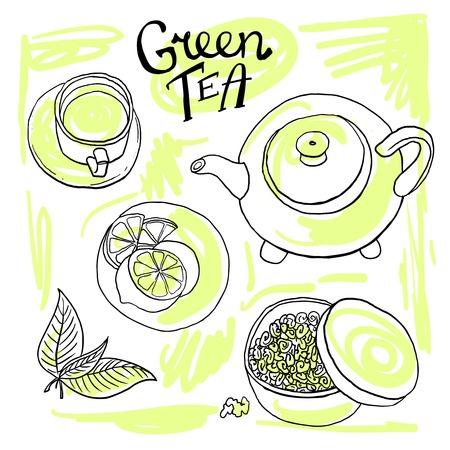 el t� verde conjunto ilustraci�n