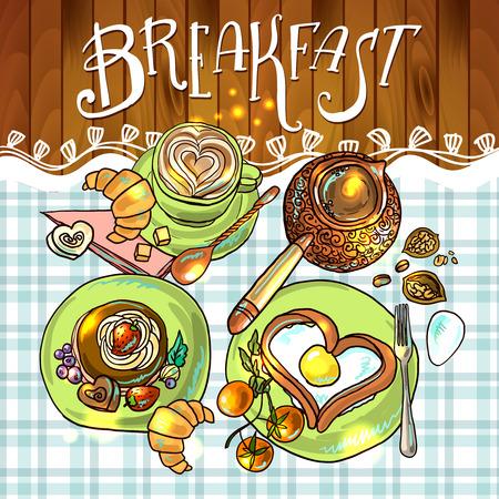 beautiful illustration of breakfast