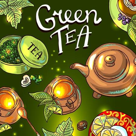 green tea background illustration
