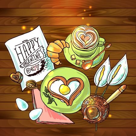 hermosa ilustraci�n desayuno festivo para el d�a de San Valent�n