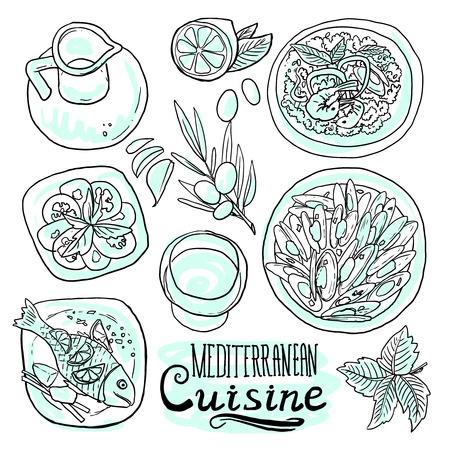 cocina Medditerranean Vectores