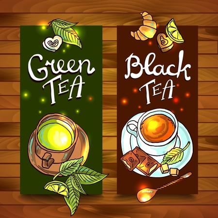 Grünem und schwarzem Tee Banner-Abbildung Standard-Bild - 35703332