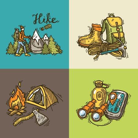 hike illustrations Vector