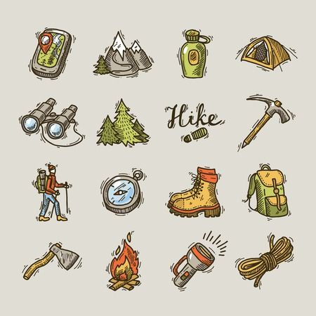 man outdoors: hike icons