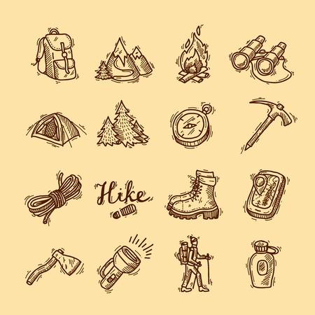 wandeling pictogrammen Stock Illustratie
