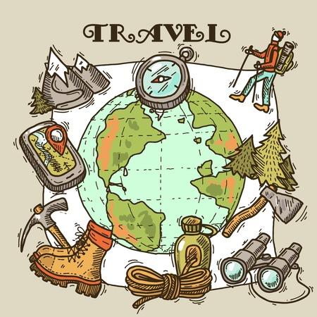 ice ax: travel illustration Illustration